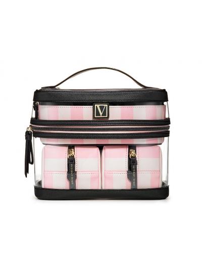 Косметичка 4-в-1 Victoria's Secret Beauty Bag, Pink Stripe