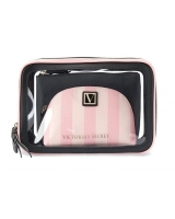 Косметичка 3 в 1 Victoria's Secret Beauty Bag Trio, Pink Stripe