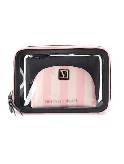 Косметичка 3 в 1 Victoria's Secret Beauty Bag Trio, Pink Stripe