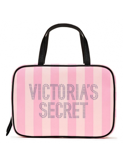Дорожная косметичка кейс Victoria's Secret Travel Case, Logo Pink Stripe