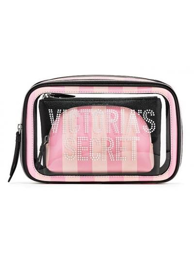 Косметичка 3 в 1 Victoria's Secret Beauty Bag Trio, Logo Pink Stripe