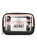 Косметичка 3 в 1 Victoria's Secret Beauty Bag Trio, Logo Black and Pink Stripe