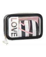 Косметичка 3 в 1 Victoria's Secret Beauty Bag Trio, Love Logo Black and Pink Stripe