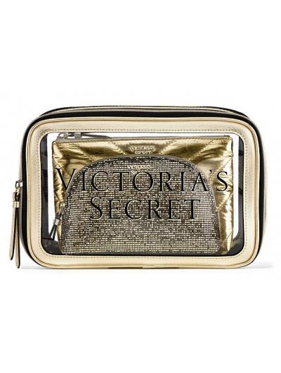 Косметичка 3 в 1 Victoria's Secret Beauty Bag Trio, Logo Gold
