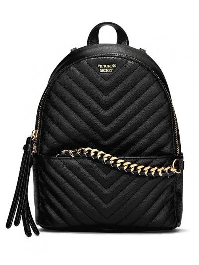 Рюкзак Victoria's Secret Pebbled V-Quilt Small City Backpack, Classic Black