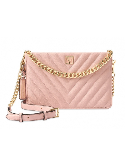 Сумочка кроссбоди Victoria's Secret Pebbled Crossbody, Ribbed Pink