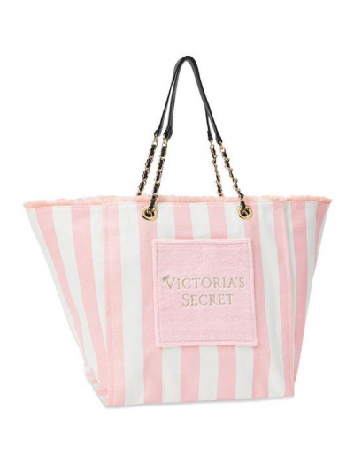 Пляжная Сумка с полосками Victoria's Secret Stripe Pink Tote
