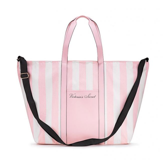 Пляжная Сумка с розовыми полосками Victoria's Secret Stripe Pink Tote