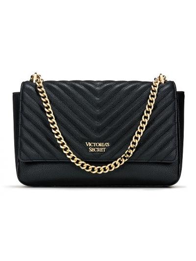 Сумочка Victoria's Secret Pebbled V-Quilt Street Shoulder Bag, Ribbed Black