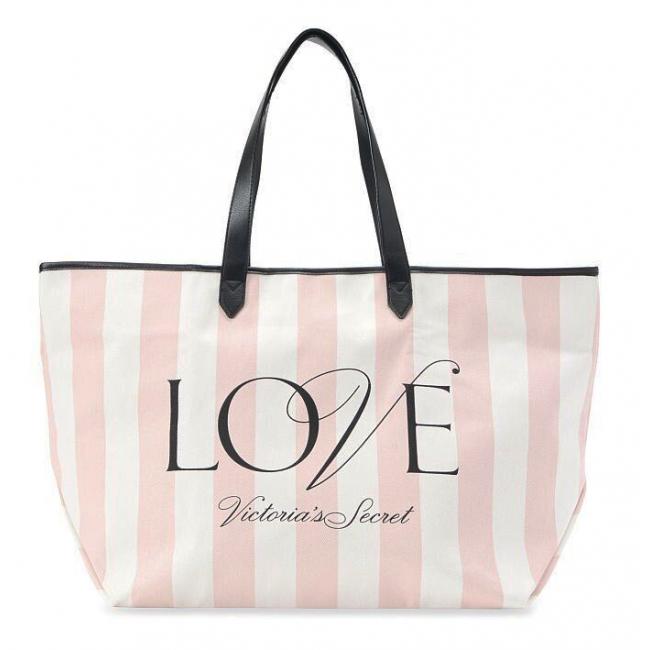 Пляжная Сумка с розовыми полосками Victoria's Secret Stripe Tote