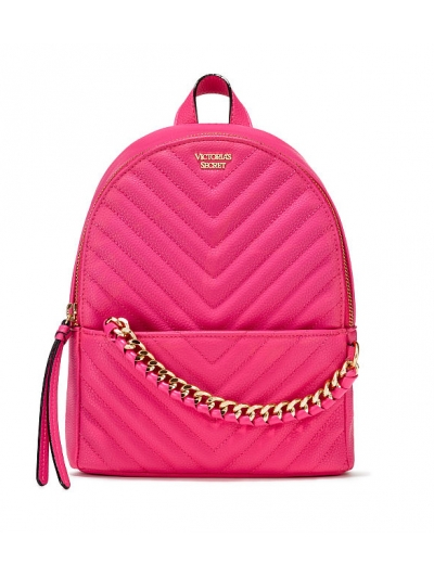 Рюкзак Victoria's Secret Pebbled V-Quilt Small City Backpack, Neon pink