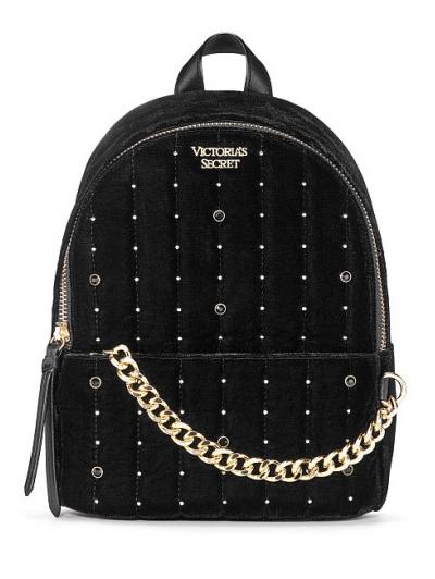 Рюкзак Victoria's Secret Velvet V-Quilt Small City Backpack, Black rhinestones