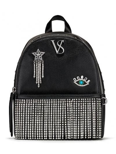 Рюкзак Victoria's Secret Pebbled V-Quilt Small City Backpack, Black glam