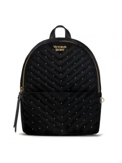 Рюкзак Victoria's Secret Velvet V-Quilt Small City Backpack, Gold dots