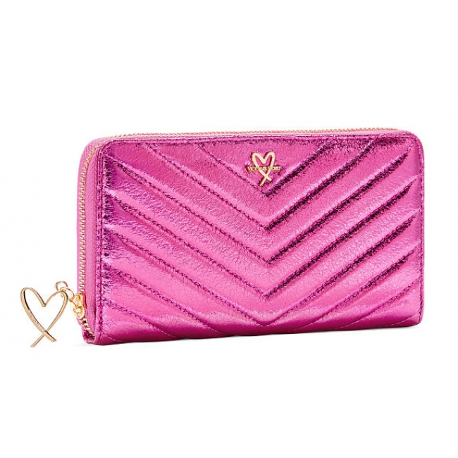 Кошелёк Victoria's Secret V-Quilt Metallic Crackle Zip Wallet