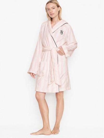 Халат Victoria's Secret Hooded Short Cozy Robe, Pink Stripe