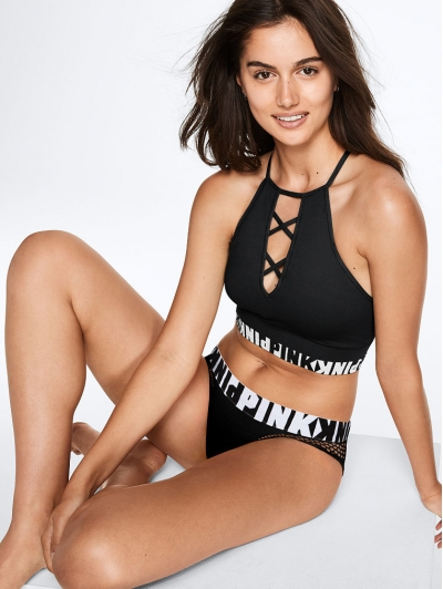 Комплект Victoria's Secret PINK COMFY STRAPPY HIGH-NECK & Seamless Mesh Thong