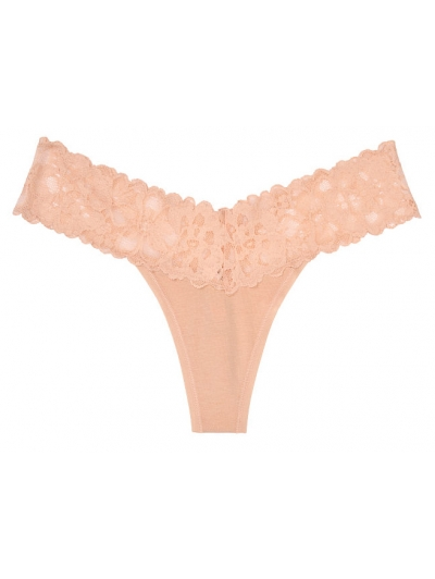 Трусики стринги Victoria's Secret Lace-waist Thong Panty, Nude