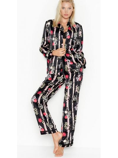 Атласная Пижама Victoria's Secret Long PJ Set, Black Floral Stripe
