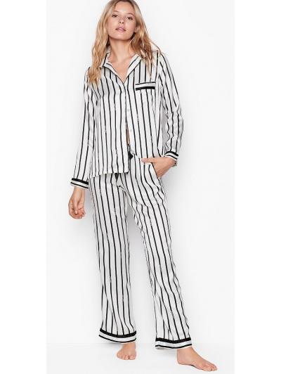 Атласная Пижама Victoria's Secret Long PJ Set, White Stripe