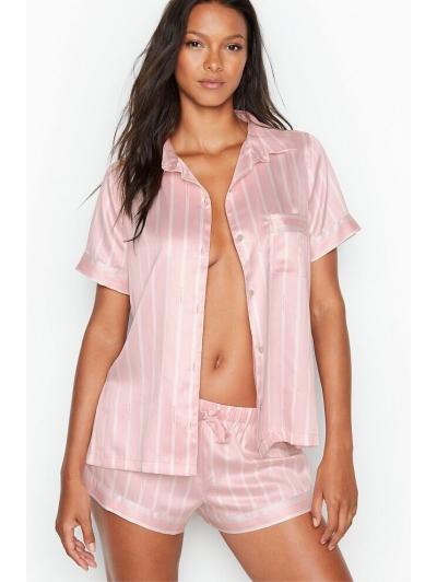 Атласная Полосатая Пижама Victoria's Secret Boxer PJ, Pink Stripe