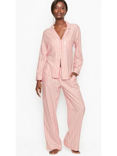 Пижама Victoria's Secret Cotton Printed Flannel Long PJ Set, Розовая в полоску