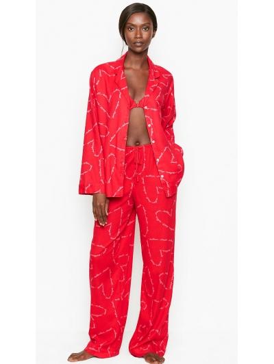 Пижама Victoria's Secret Cotton Printed Flannel PJ Set, Red Hearts
