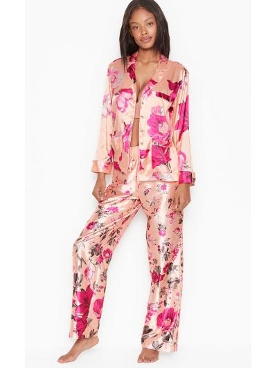 Атласная Пижама Victoria's Secret Long PJ Set, Floral Apricot