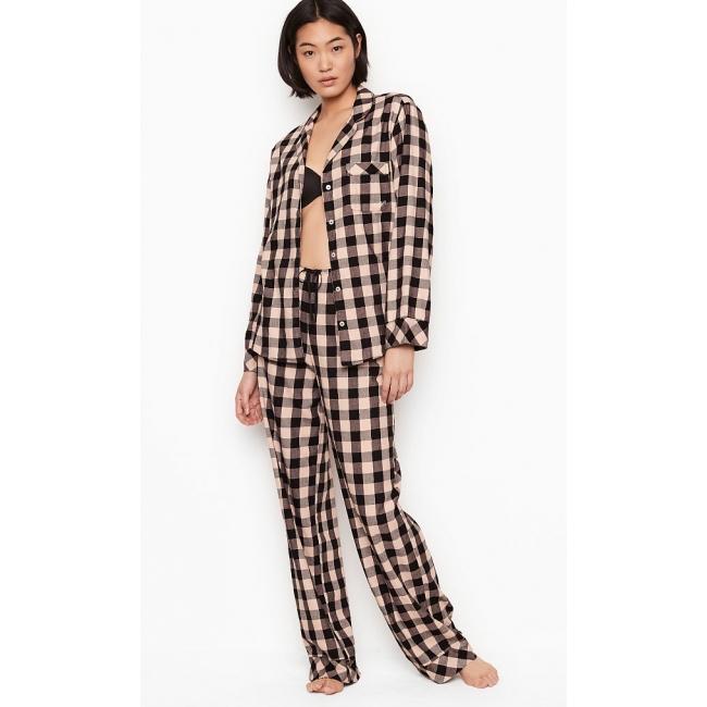 Пижама Victoria's Secret Cotton Printed Flannel Long PJ Set, Бежевая в клетку