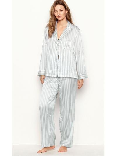 Атласная Пижама Victoria's Secret Long PJ Set, Blue/White Stripe