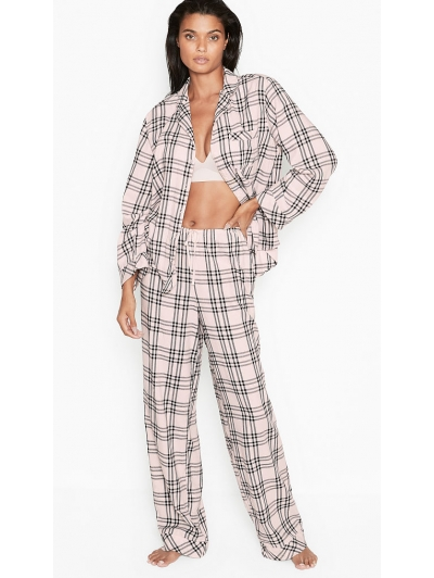 Пижама Victoria's Secret Cotton Printed Flannel Long PJ Set, Нежно розовая в клетку