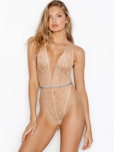 Кружевной боди Victoria's Secret V-wire Teddy, Rhinestones