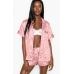 Атласная Пижама Victoria's Secret Satin Short PJ Set, Pink Leopard Print
