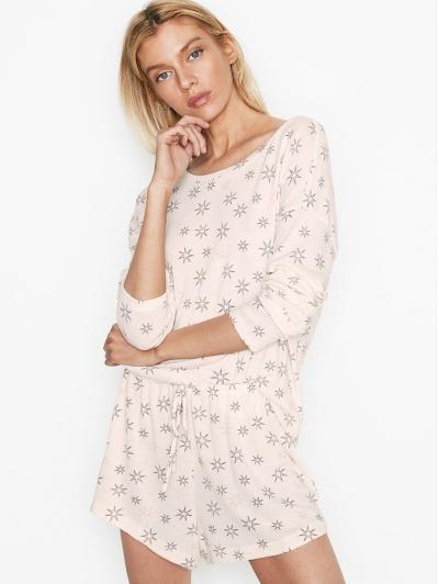 Пижама Victoria's Secret Cozy Knit Short PJ Set, White Stars