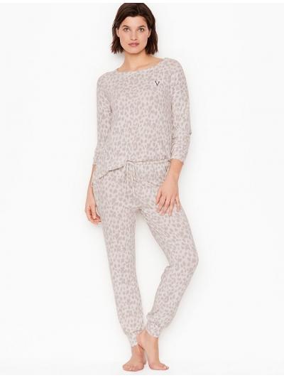 Пижама Victoria's Secret Cozy Jogger PJ Set, White Leopard Print