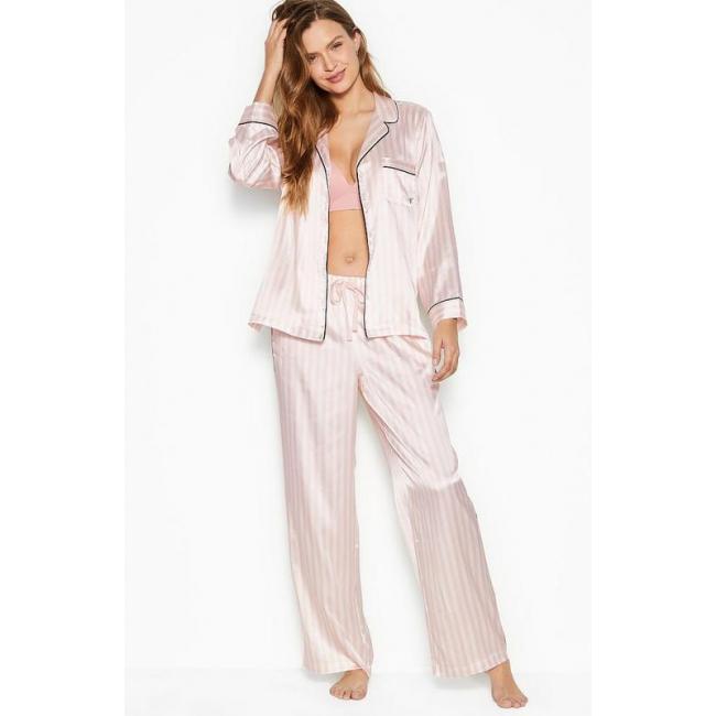 Атласная Пижама в Полоску Victoria's Secret Long PJ Set, Brand Stripe