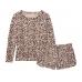 Пижама Victoria's Secret Cozy Knit Short PJ Set, Leopard Print