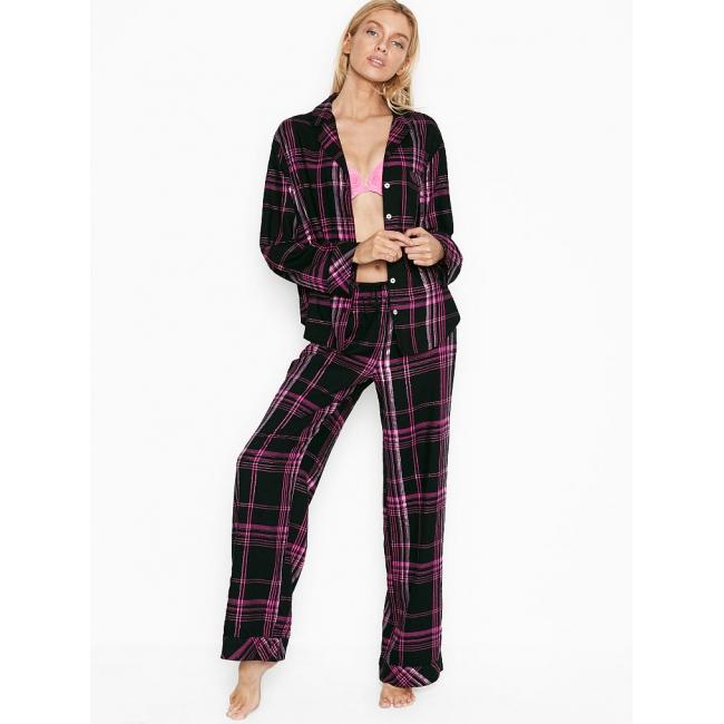 Пижама Victoria's Secret Cotton Printed Flannel Long PJ Set, Black/Rose Check Plaid