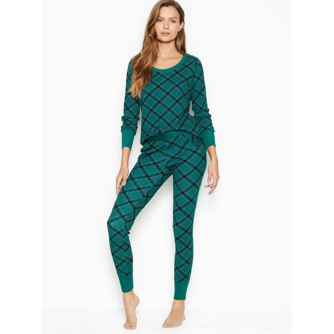 Термо пижама Victoria's Secret Thermal PJ Set, Green Bias Plaid