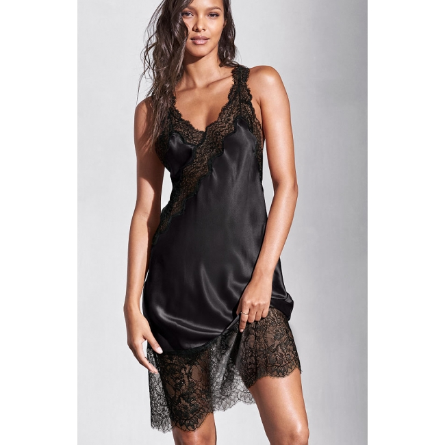 Ночнушка Victoria's Secret Satin & Lace Midi Slip