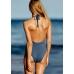Купальник Victoria's Secret PINK Macrame One-Piece Halter, цвет морской волны
