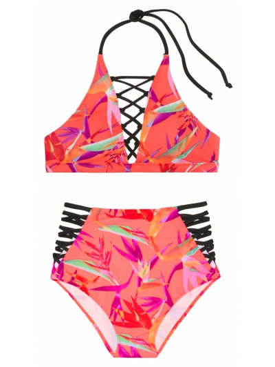 Купальник Victoria's Secret Pink Embroidered Strappy High-Neck  & Strappy High-Waist Bikini