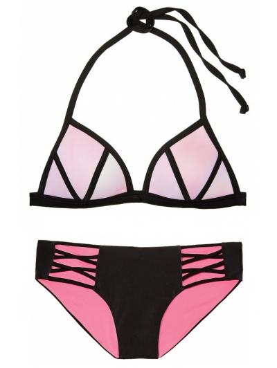 Купальник Victoria's Secret Pink с Push-up небесно-розовый/черный