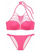 Купальник Victoria's Secret PINK Lightly Lined Macramé High-Neck & Macramé Bikini