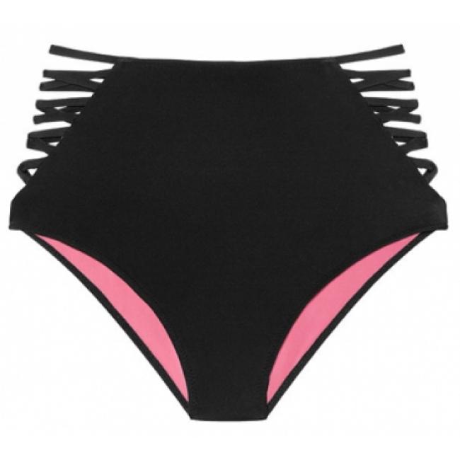Плавки с завышенной талией Victoria's Secret Pink Strappy High Waist Bikini, чёрные