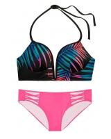 Купальник Victoria's Secret Pink черный с мультиколор принтом
