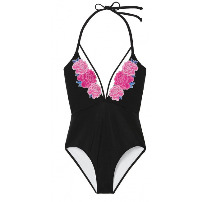 Купальник с вышивкой Victoria's Secret PINK  Embroidered Strappy Plunge One-Piece