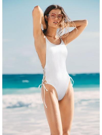 Сдельный купальник Victoria's Secret PINK Ribbed Lace-Up One-Piece, белый