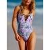 Сдельный купальник Victoria's Secret PINK Lace-Up Front One-Piece, фиолетовый с листьями