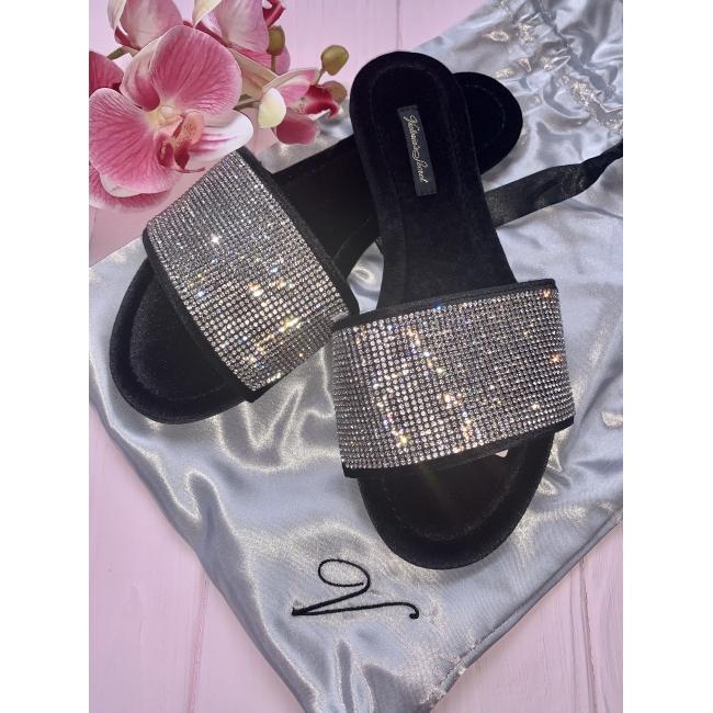 Шлёпки со стразами Victoria's Secret Embellished Velvet Slides, чёрные
